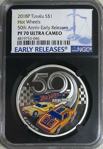 2018 Tuvalu Hot Wheels Silver $1 NGC PF70 UC Early Releases Black Core