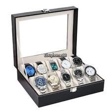 Display Holder Organizer Case Storage Usa 10 Grids Slots Leather Jewelry Watch