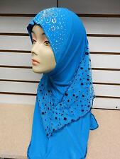 Blue 1 Piece Rhinestone Muslim Hijab Head Wear Cover Scarf Shawl Wrap Cap Islam