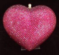 NIB Crystal Evening Bag Clutch Hand Bag made with swarovski elements Heart