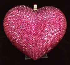 NIB Crystal Evening Bag Clutch Hand Bag made with swarovski elements Heart