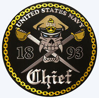 """NAVY CPO CHIEF PETTY OFFICER SKULL EMBROIDERED  4"""" MILITARY  PATCH"""