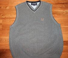 TOMMY HILFIGER Mens Sweater Sz L Pullover V-Neck Gray Heavy Cotton