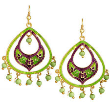 Spargz Oval Shape  Officewear Green Meenakari Earrings For Women AIER 1066
