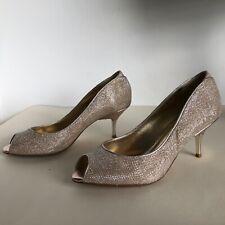 Dune Gold Peep Toe Heels Occasion Wedding Size 38 Uk 5