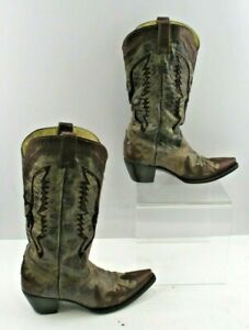 Ladies Corral Brown Distressed Leather Pointed Toe Western Boots Size: 9 M