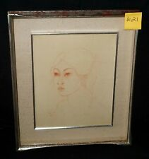 "1977 Bali Pastel Portrait Painting ""Young Woman"" by Hans Snel (1925-1998)(***)"
