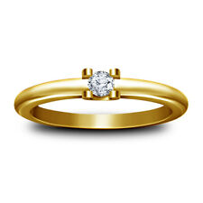 Yellow Gold Over Solitaire Engagement Ring 1.00 Ct Round Cut Diamond Women's 14K