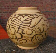 vase en grès Mougin à Nancy, modèle de Ventrillon à décor floral