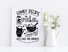 Family Recipe Love Care Home Vinyl Decal Sticker Frames Cooking Decor Crafts