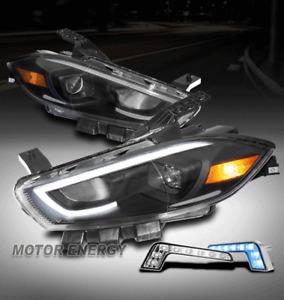 For 13-16 Dodge Dart LED Bar Black Halogen Projector Headlight w/Blue DRL Signal