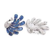 1pcs Femme Broches Paon Luxe Strass Clip Pin Diamant Bijoux Pour Echarpe Manteau