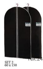 2x Kleidersack Kleiderhülle Schutzhülle Kleider Hülle in Schwarz 150 x 60 cm NEU