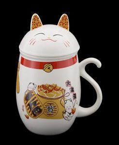 Tazza Gatto Giapponese Maneki Neko Con Coperchio Porcellana Lucky Cat 40627