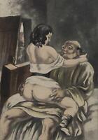 BERTHOMME SAINT ANDRE :  Le moine et la coquine - Lot de 2 EAUX FORTES, 1931