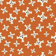 Riley Blake Tela Calavera mapa del tesoro C3753 Naranja 100% Algodón Cuarto Gordo +