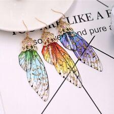 Colorful Resin Butterfly Wing Drop Dangle Earrings Crystal Hook Women Jewelry