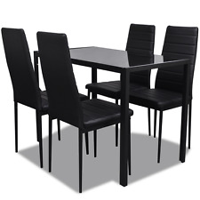 Black Dining Set Table 4 Chairs Tempered Glass Tabletop Kitchen Seat Chair Iron