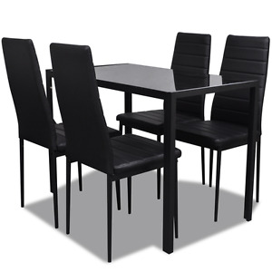 Contemporary Dining Set with Table and 4 Chairs Black Kitchen Furniture 5-piece