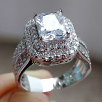 Radiant White Cz 925 Sterling Silver Wedding Engagement Gemstone Ring Size 5-10