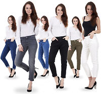 Ladies Relaxed Skinny Jeans Cotton Womens Denim Tapered Slim Fit Stretch