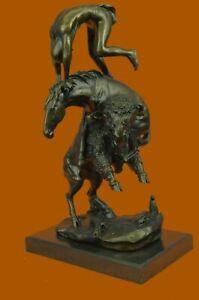 Buffalo Hunt Solid Bronze Sculpture Statue Frederic Remington Western Art Figure