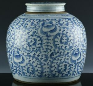 19thC CHINESE QING DYNASTY SCROLLING LOTUS BLUE WHITE PORCELAIN LIDDED JAR VASE
