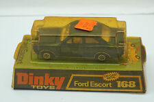VINTAGE DINKY TOYS CAR FORD ESCORT 168 BLUE WITH ORIGINAL BOX DIECAST MECCANO