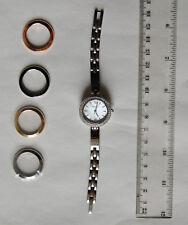 Bulova 98X107 Crystal White Mother of Pearl Dial Stainless Steel Watch