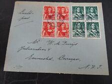 Nederland 413, 418 blokken van 4 op brief Apeldoorn - Emmastad Curacao 1946