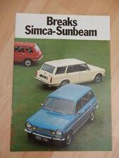 Catalogue Breaks SIMCA - SUNBEAM 1974