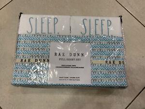 "Rae Dunn Blue Sheets(Fitted Sheet, Flat Sheet) And Pillow Case ""Dream""- Full"