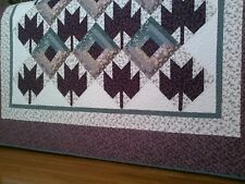 """Cabin Maples"" Handmade Throw, Rich Purples/Teals, 100% Cotton, Machine Quilted"
