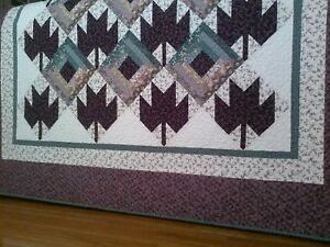 """Cabin Maples"" Handmade Throw, Rich Purples/Teals, 100% Cotton, Machine Quilted"