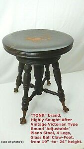 TONK Vintage Antique Round Height adjustable Piano Stool 4 Claw GLASS BALL feet
