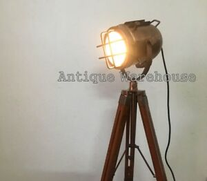 Vintage Industrial Spot Light With Tripod Marine Studio Floor Lamp Home Decor