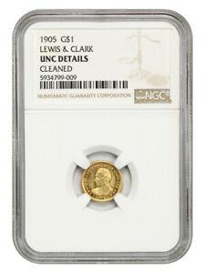 1905 Lewis & Clark G$1 NGC UNC Details (Cleaned) Key Gold Commem Issue