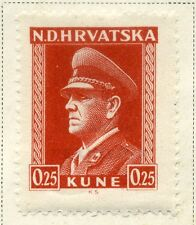 CROATIA;  1943 early WWII Pavelic issue fine Mint hinged 25b. value