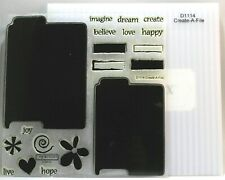 Close to my Heart D1114 Create-A-File Clear Acrylic Stamp Set CTMH My Acrylix