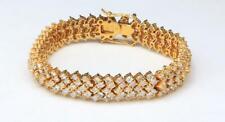 Vintage Cubic Zirconia Link Bracelet Gold Wash Sterling Silver CZ Bling Sparkle