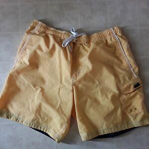 Speedo Mens XL 34 Yellow Swim Trunks Board Shorts Side Pocket Drawstrings