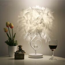 White Feather Crystal Table Lamp Bedside Reading Sitting Room Living Heart Shape