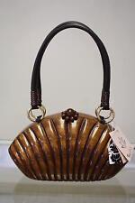 $225 Tixxi & Co 'Kayla' Wooden Handmade Handbag Small Baguette Brown Shell 383