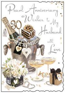 Husband 30th Pearl Wedding Anniversary Card ~ Luxury Card Made In UK JJ