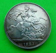 ATTRACTIVE  GEF  *1821*   GEORGE  IV  SILVER  CROWN  5/- ...LUCIDO_8  COINS