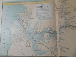 Antique Map Article & Photos of the Early Panama Canal @ Completion/1910/Hammond