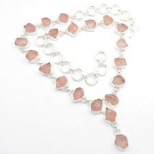 925 Stamp Solid Sterling Silver 19.5 Inches Necklace, Real ROSE QUARTZ Gemstone