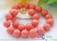Rare 12mm Genuine South Sea Coral Color Shell Pearl Round Beads Necklace 18''