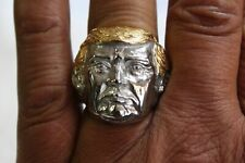 Silver Donald Trump Finger Ring Gold Hair President USA Jewelry Band White House