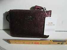 COACH KEY POUCH WITH GUSSET METALIC CHERRY GLITTER F64588